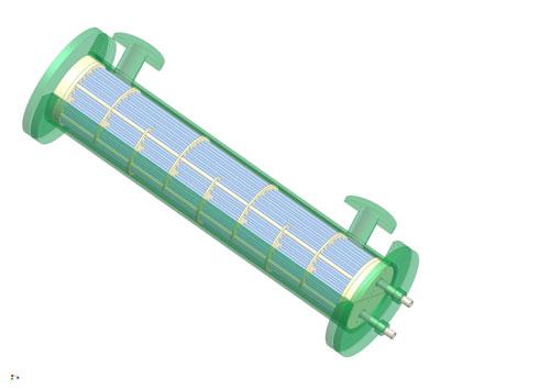 樹脂製熱交換器シェル&チューブ(シェルアンドチューブ式)3D図1