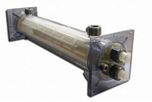プラスチック熱交換器 シェル&チューブ 特注仕様(透明シェル)